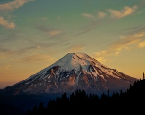 Mount Saint Helens at Sunset Before the May 18, 1980 Eruption, Gifford Pinchot National Forest, Washington